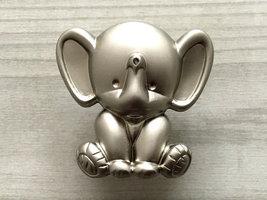 Elephant Knob Kids Knobs Baby Nursery Kids Dresser Knobs Brushed Nickel Cute - $6.50