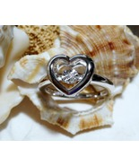 Sterling Silver Dancing Diamond Heart Ring 3.11 grams Size 7   - $40.00