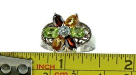 Ladies Size 7.25 Sterling Silver Multi Color Gemstone Fashion Ring No. 2153 image 7