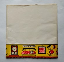 1950's Royledge Shelf Lining Paper and Edging Yellow Red Cat Chair Clock... - $14.01