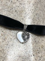 vintage marcasite Choker Deco  Mother of Pearl Heart - $34.65