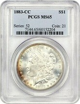 1883-CC PCGS MS65 - Morgan Argent Dollar - $441.34