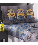 NEW Minions Full Bedding Sheet Set 2 Pillowcases 1 Flat 1 Fitted Despica... - £20.13 GBP