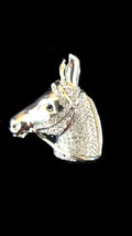 crystallised silver horse brooch with brooch safety crossbar connection on rear