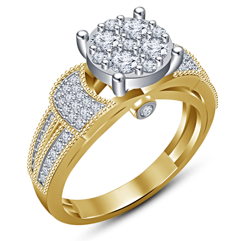 Bridal Engagement Ring Set 14k Yellow Gold Plated 925 Silver Round Cut White CZ