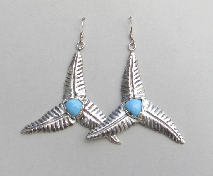 Primary image for Large genuine turquoise silver earrings, triple leaf dangle, wind turbine