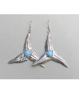 Large genuine turquoise silver earrings, triple leaf dangle, wind turbine - £73.22 GBP
