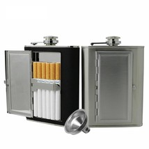 Hip Flask Cigarette Case Stainless Steel Liquor 5/6 OZ PU Leather Covere... - €10,74 EUR+