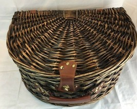 Vintage Style Picnic Basket Lined Padded Clamshell Shape Holds Service f... - $51.41