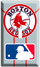 BOSTON RED SOX MLB LOGO BASEBALL SINGLE LIGHT SWITCH COVER UNIFORM RED S... - $8.99