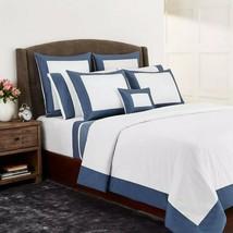 Sferra Casida White Queen Duvet Blue Delft Bordered Percale Reversible Italy NEW - $240.00
