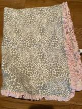 Carters Pink Tan Hearts Stripe Baby Blanket Leopard Ruffle Trim Cotton GUC - $14.36