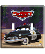 DISNEY CARS 2 SHERIFF POLICE CAR DOUBLE LIGHT SWITCH WALL PLATE COVER RO... - $11.99