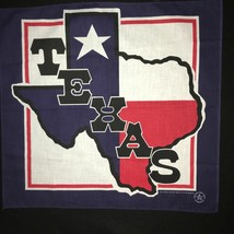 "1 Vintage 22"" Square Novelty Bandana Texas Lone Star Blue Bandana - $8.59"