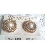 Vintage Richelieu Faux Pearl Rhinestone Two Tone Circle Clip On Earrings... - $3.80