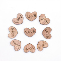 100 pcs Mini Wooden Love Heart Wedding Table Decoration Rustic Craft DIY - $9.88