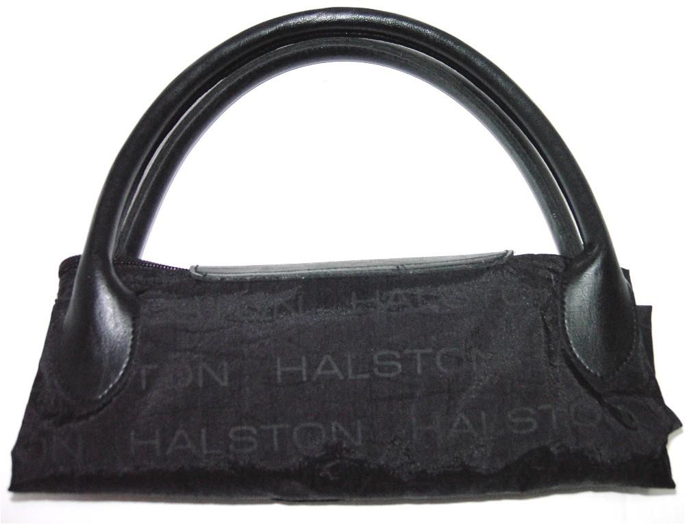 Halston Black Nylon/Leather Roll-up Shopping Bag