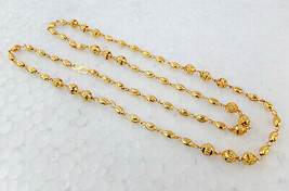 Indian Fashion Jewelry Ethnic Gold Plated Long Necklace 22k Light Chain ... - $9.49