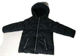 Kid's Black Jacket Wonder Nation Coat Size 3T Quilted with Hood Zip Front - $14.03