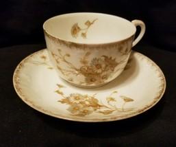 ANTIQUE L SAZERAT TEA CUP FLORAL DAISY ETCHING WITH GOLD GILD LIMOGES FR... - $9.89