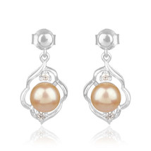925 Silver White Rhodium Plated Natural Pink Pearl Gemstone Girls Drop E... - $23.76