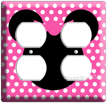 Minnie Mouse Pink Polka Dot 4 Hole Power Outlet Wall Plate Cover Girl Room Decor - $8.99
