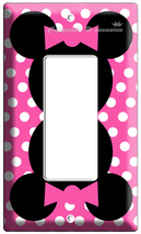 MINNIE MOUSE PINK POLKA DOT GFCI LIGHT SWITCH OUTLET COVER GIRLS ROOM DE... - $8.99