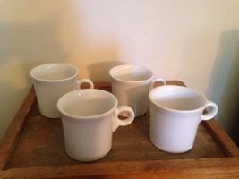 Set of 4 Homer Laughlin Fiestaware Fiesta White Coffee Tea Mugs Cups Lead Free! - $18.69