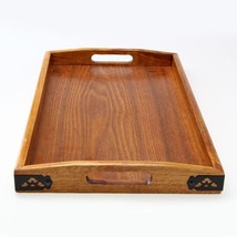 1pc Wooden Serving Tray Wood Dishes Plates With Handle Kitchen Serving D... - $30.37