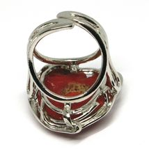 925 SILVER RING, RED CORAL NATURAL HEART, CABOCHON, MADE IN ITALY image 6