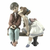 """NEW IN BOX LLADRO """"TEN AND GROWING"""" #7635 GIRL KISSING BOY FIGURINE 7.75... - $296.99"""