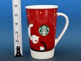 Collectible Starbucks Porcelain Coffee Mug 16oz 2011 Red Christmas Sled Dog