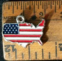 UNITED STATES SHAPED FLAG EPOXY ENAMELED FINE PEWTER CHARM PENDANT image 2