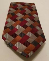 Sexy Geoffrey Beene 100% Silk Red Blue Silver Patchwork Diamonds Tie Necktie image 6