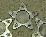 Antiqued Silver Star Sapphire Blue Gem Votive Candle Holders x3