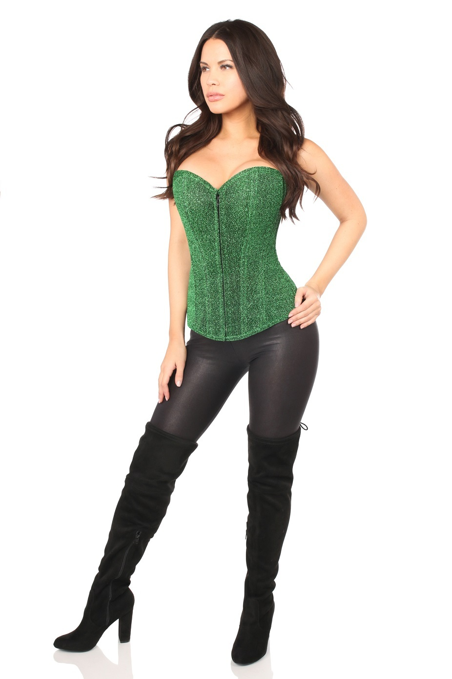 Lavish Green Glitter Corset  Steel Boned with Side Zipper - Small to Plus Sizes