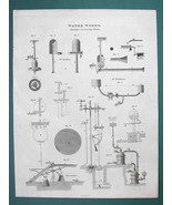 WATER WORKS Pumps for Raising Water - 1820 ABRAHAM REES Print - $11.25