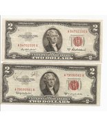 1953 $2 Dollar Bills 2 Series A & C US Note Red Seal - $36.95