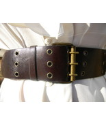 "2-1/2"" Wide Vintage Brass & Stud Brown Belt  Wo... - $19.99"