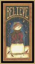 Believe snowman holiday winter christmas cross stitch chart Mystic Stitch - $14.40