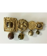 Modernistic Chunky KATE HINES  Brooch Pin Dangles Signed Brass Glass Beads - $19.79
