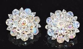 VTG Clear Aurora Borealis Demi Parure Crystal Silver Toned Cluster Clip Earrings - $24.75