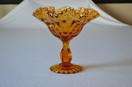 "Fenton Colonial Amber Thumbprint Compote #4425 CA Footed 7 1/8"" - $14.85"
