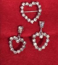 B David  Signed Vintage Rhinestone Brooch & Earrings Screw Back - $39.94