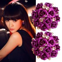 Fashion Women Jewelry Elegant Rose Flower Crystal Rhinestone Ear Stud Ea... - $23.90