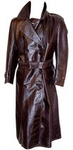 Notch Collar Genuine Real  Men Leather Trench Log Coat  For Men