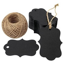 G2PLUS 100 PCS Black Paper Gift Tags with String, 2.75''x 1.97'' Kraft Hang Tags
