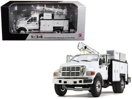 Ford F-650 with Maintainer Service Body White 1/34 Diecast Model Car by First Ge - $109.19