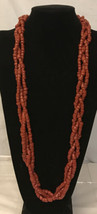"""Antique Vintage Natural Red Coral Bead Braided  Necklaces 30"""" Long/ 161 ... - $296.01"""