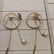 AUTH Christian Dior 2019 CD LOGO LARGE CIRCLE HOOP DANGLE PEARL DROP Earrings image 2